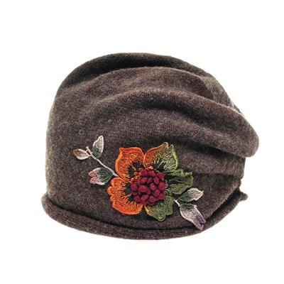 JAS02.꽃패치 중년 여성 니트 비니 엄마 할머니 겨울 항암 모자