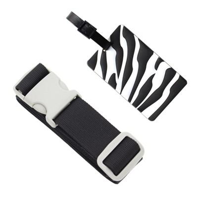 터짐방지 여행가방 컬러 보호벨트 + 패션 지브라 네임택 세트