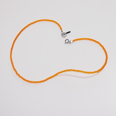 orange_simple_neck 심플 오렌지 비즈목걸이