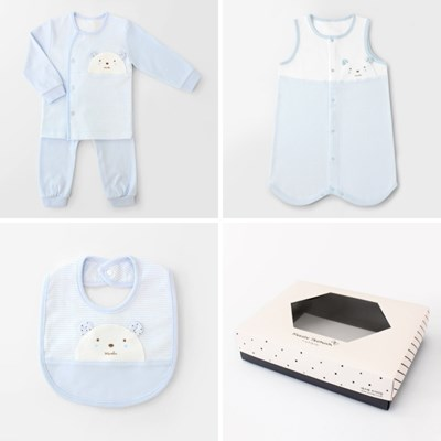 [선물하기][메르베]M곰돌이 아기 돌선물세트(내의+수면조끼+턱받이)