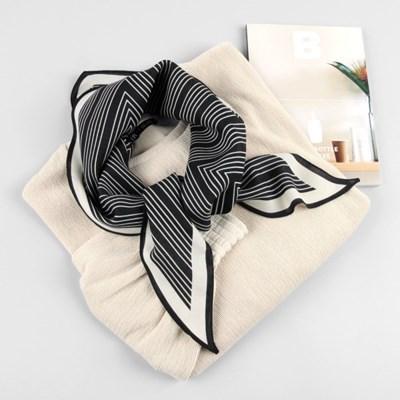 [베네]울실크 지그재그 마름모 스카프