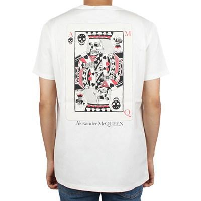 20FW 알렉산더 맥퀸 스컬 포커 그래픽 프린팅 티셔츠 (화이트/남성)