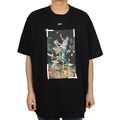 20FW 오프화이트 파스칼 스켈레톤 애로우 티셔츠 오버핏 (블랙) OMAA