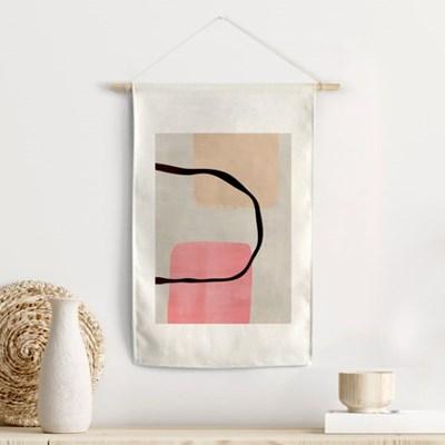린넨 행잉 패브릭 포스터 핑크웨이브