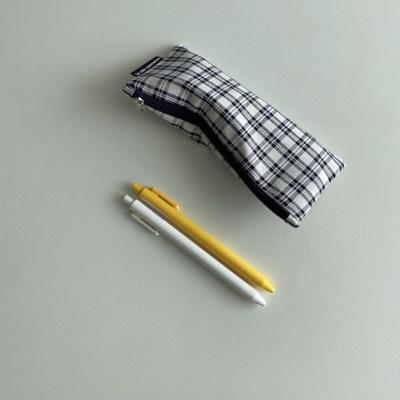 네이비 심플 체크 필통(Navy simple check pencil case)