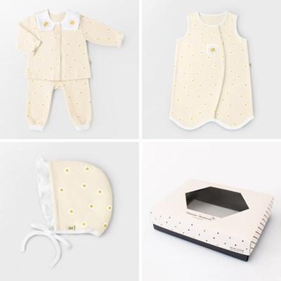 [선물하기][메르베]미니데이지 출산선물세트(내의+수면조끼+모자)