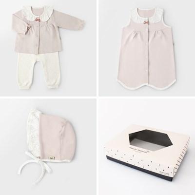 [선물하기][메르베] 마들렌 아기 출산선물세트(내의+수면조끼+모자)