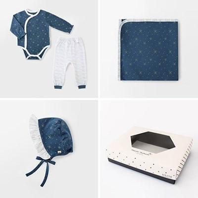 [선물하기][메르베] 별밤여아 아기 돌선물세트(슈트+속싸개+모자)