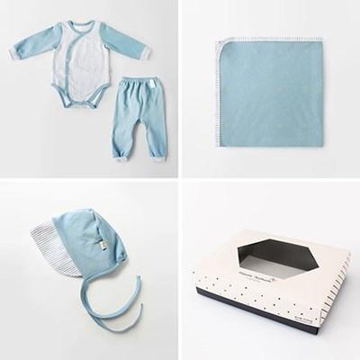 [선물하기][메르베] 별밤남아 아기 돌선물세트(슈트+속싸개+모자)
