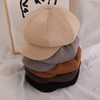 도톰 스웨이드 헌팅캡 팔각모 뉴스보이캡 모자 5color