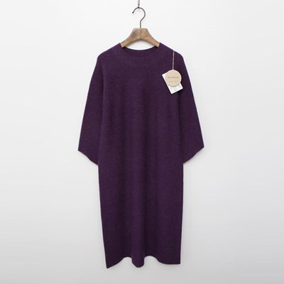 Maille Alpaca Wool Dress - 7부소매