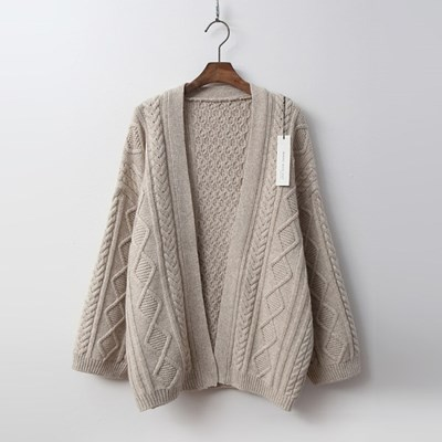 Merino Wool Twist Open Cardigan