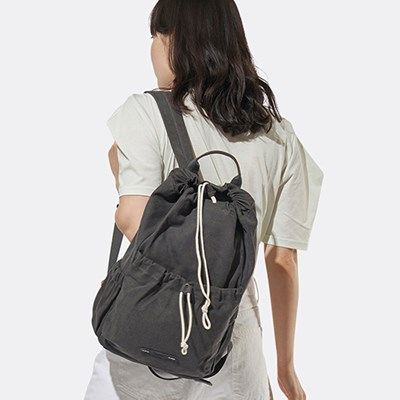 STRING BACKPACK CANVAS 702 13 CHARCOAL