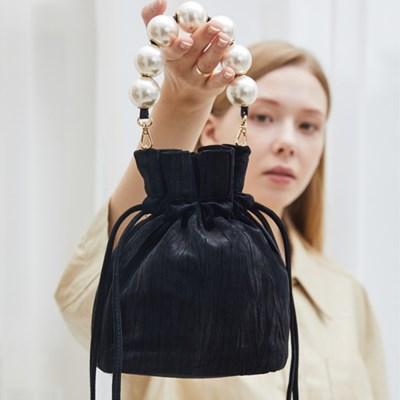 골드 머메이드 진주 버킷백 [Mermaid bucket bag] Leather Black