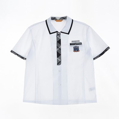 [교복아울렛] 블랙라인 체크 포인트 여자 반팔 셔츠_(1736433)