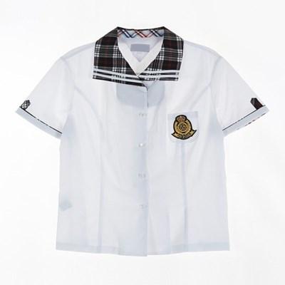 [교복아울렛] 체크 카라 반팔 여자 셔츠 (휘경여고)_(1736435)