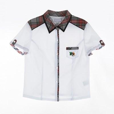 [교복아울렛] 그레이 레드 체크 카라 반팔 여자 셔츠_(1736436)
