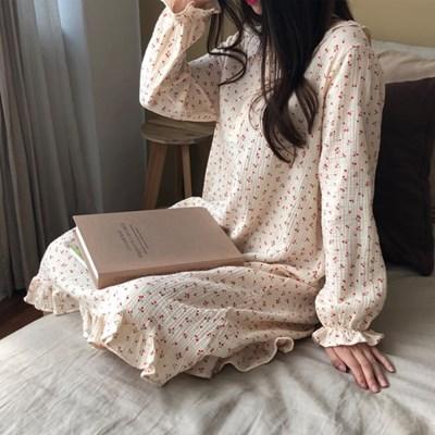 요루 순면 체리 롱 원피스 파자마 잠옷