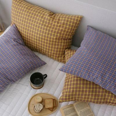 따뜻한 체크 베개커버-2color