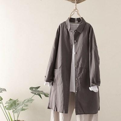 린넨 가을 포켓 롱셔츠 N2073