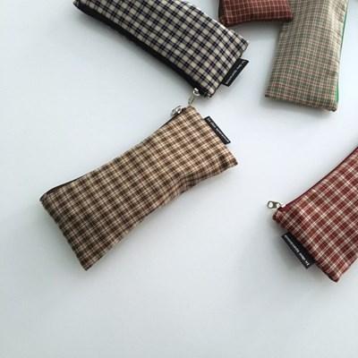 빈티지 베이지 체크 필통(Vintage Beige check pencil case