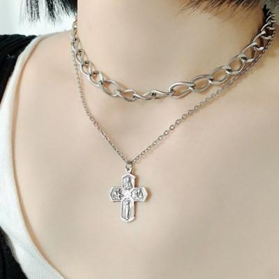여자 십자가 펜던트 써지컬 목걸이 네크리스