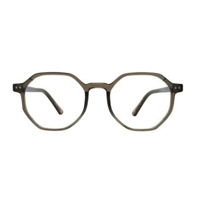 Psyche KHAKI CRYSTAL 다각 투명 뿔테 안경
