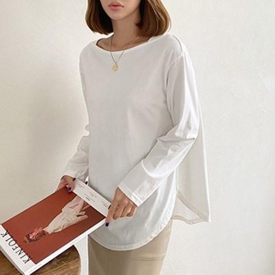 여자 라운드넥 오버핏 라운드 트임 긴팔 티셔츠
