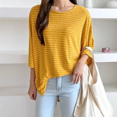 여자 라운드넥 8부 소매 스트라이프 잔줄 티셔츠