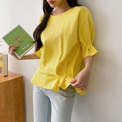 여자 가을 라운드넥 반팔 꽃잎 반팔 티셔츠