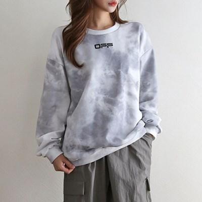 여자 스톤 물 나염 프린팅 스트릿 긴팔 티셔츠