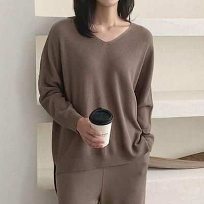 여자 캐주얼 브이넥 울 40 브이넥 니트 티셔츠