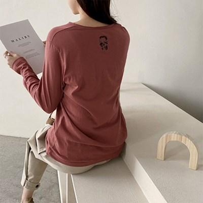 여자 캐주얼 해골 라운드 긴팔 코튼 티셔츠