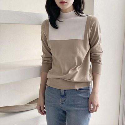 여자 캐주얼 사각 배색 긴팔 니트 티셔츠