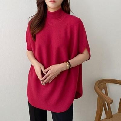 여자 홀가먼트 반팔 트임 폴라 울 100 니트 티셔츠