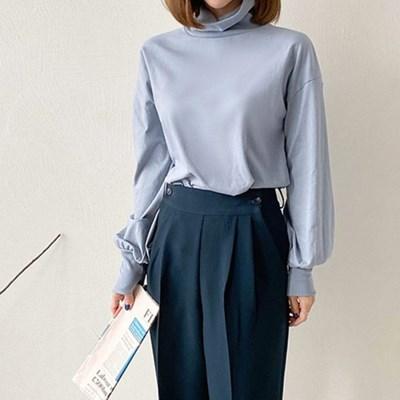 여자 캐주얼 폴라 맨투맨 가을 겨울 코튼 티셔츠