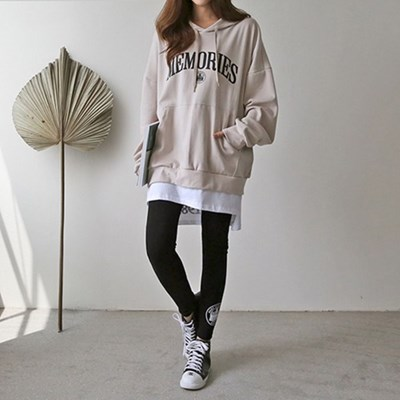 여자 가을 겨울 이너 레이어드 오버핏 후드 티셔츠 세트
