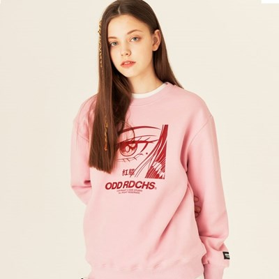 [스티커팩 증정] 오드 러디칙스 페이스 맨투맨 티셔츠 - PINK