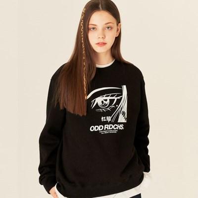 [스티커팩 증정] 오드 러디칙스 페이스 맨투맨 티셔츠 - BLACK