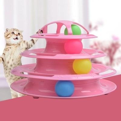고양이 장난감 4단 공놀이 턴테이블 트랙타워
