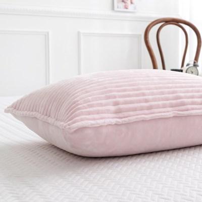 로이 핑크 밍크극세사 베개커버