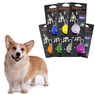 강아지 야간 산책용품 야광 LED 펜던트 인식표 목걸이