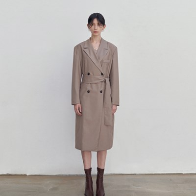 MODERN DOUBLE LONG COAT_BEIGE