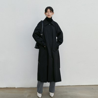 EVER BOY-FIT TRENCH COAT_BLACK