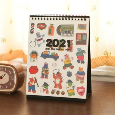 2021 젤리베어 데스크 캘린더 (투명 리무버 스티커 포함)