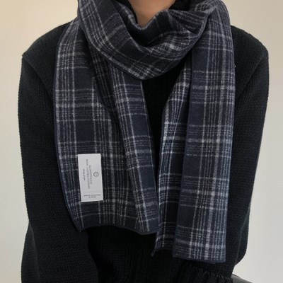slowstitch navy winter check muffler