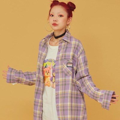 NEONMOON 20FW Purple Check Shirt