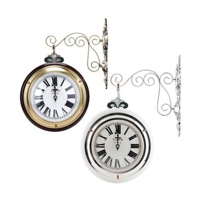엔틱 모던 클래식 양면시계(브라운' 화이트)