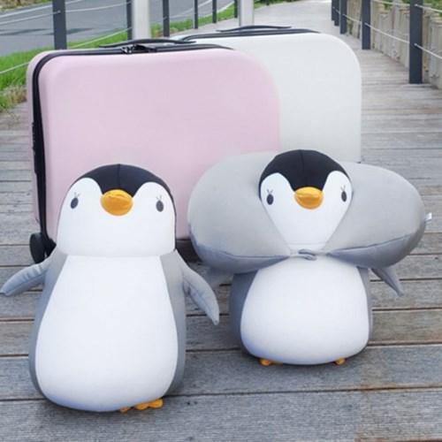 귀여운 펭귄 인형 변신 목베개 사무실 기내용 여행 목쿠션 - 아기펭