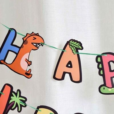 레인보우 아기자기 귀여운 공룡 생일파티 가랜드